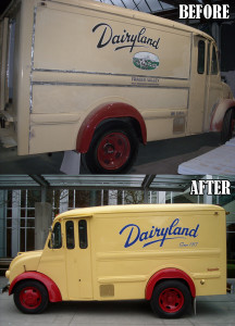 Repainted & refreshed Dairyland truck.